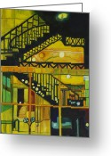 Spiral Staircase Painting Greeting Cards - Through Parisian Glass Greeting Card by Patricia Arroyo