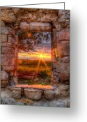 Old Abandoned House Greeting Cards - Through the Bedroom Window Greeting Card by Thomas Zimmerman