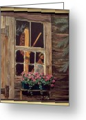 Cabin Window Painting Greeting Cards - Through the Cabin Window Greeting Card by Lynda  Lawrence