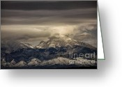 Winter Storm Photo Greeting Cards - Through the Clouds Greeting Card by Timothy Johnson