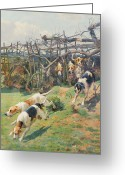 Beagle Greeting Cards - Through the Fence Greeting Card by Arthur Charles Dodd