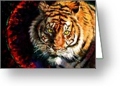 Tiger Tapestries Textiles Greeting Cards - Through the Ring of Fire Greeting Card by John Lautermilch
