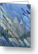 Salt Lake City Temple Painting Greeting Cards - Through the Veil Greeting Card by Lisa  Marsing