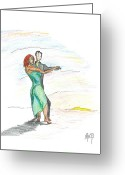 Dawn Drawings Greeting Cards - Through til Dawn... Sketch Greeting Card by Robert Meszaros