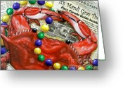 Louisiana Seafood Greeting Cards - Throw Me Somethin Greeting Card by JoAnn Wheeler