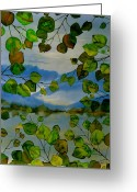 Batik Greeting Cards - Thru The Aspen Greeting Card by Carolyn Doe