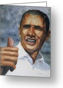 President Obama Greeting Cards - Thumbs Up Greeting Card by Shirley Braithwaite Hunt