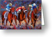 Churchill Downs Greeting Cards - Thunder Greeting Card by Debra Hurd