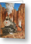 Trains Painting Greeting Cards - Thunder in Cathedral Canyon Greeting Card by Christopher Jenkins