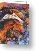 Equines Painting Greeting Cards - Thunder River Greeting Card by Jan Taylor