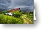Farm Fields Greeting Cards - Thunder Road Greeting Card by Debra and Dave Vanderlaan