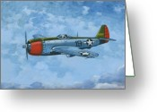 Fighters Painting Greeting Cards - Thunderbolt Greeting Card by Murray McLeod
