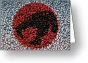 Thundercats Greeting Cards - Thundercats Bottle Cap Mosaic Greeting Card by Paul Van Scott
