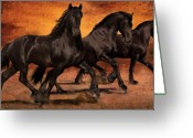Stallion Greeting Cards - Thundering Hooves Greeting Card by Jean Hildebrant