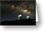 Telescope Domes Greeting Cards - Thundering Milky Way Greeting Card by Larry Landolfi