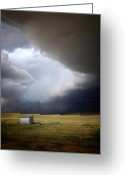 Dark Gray Blue Greeting Cards - Thunderstorm over the Plains Greeting Card by Ellen Lacey