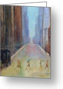 Crosswalk Painting Greeting Cards - Thunderstorm Greeting Card by Patricia Caldwell