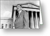 Washington D.c. Tapestries Textiles Greeting Cards - Thurgood Marshall Greeting Card by Granger