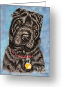 Dogs Pastels Greeting Cards - Tia Shar Pei Dog Painting Greeting Card by Michelle Wrighton