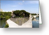 Hospital Greeting Cards - Tiber Island Greeting Card by Fabrizio Troiani