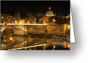 Illuminations Greeting Cards - Tiber River and Ponte Vittorio Emanuele II bridge with St. Peters Basilica. Vatican City. Rome Greeting Card by Bernard Jaubert