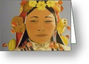 Head Piece Greeting Cards - Tibetan Celebration Orginal Greeting Card by Catherine Eager