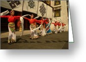 Headgear Greeting Cards - Tibetan Dancers Perform At The Chinese Greeting Card by Richard Nowitz