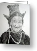 Fine Art - People Greeting Cards - Tibetan Delight Greeting Card by Enzie Shahmiri