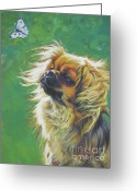 L.a.shepard Greeting Cards - Tibetan Spaniel and cabbage white butterfly Greeting Card by Lee Ann Shepard