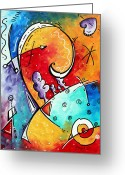 Featured Greeting Cards - Tickle My Fancy Original Whimsical Painting Greeting Card by Megan Duncanson