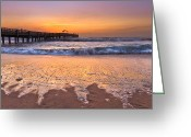 Sports Greeting Cards Greeting Cards - Tidal Fingers Greeting Card by Debra and Dave Vanderlaan