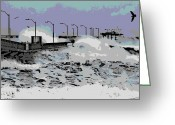 Flooding Greeting Cards - Tidal Surge Greeting Card by George Pedro