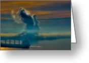 Tacoma Greeting Cards - Tide Flats Fog Greeting Card by David Patterson