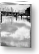 Tacoma Greeting Cards - Tide Flats Marina Greeting Card by David Patterson