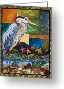 Vertical Painting Greeting Cards - Tidepool Heron Greeting Card by Melissa Cole