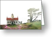 Security Greeting Cards - Tides of Battery Point Lighthouse - Northern CA Greeting Card by Christine Till