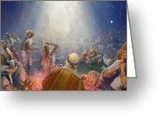 Star Of Bethlehem Greeting Cards - Tidings of Great Joy Greeting Card by John Millar Watt