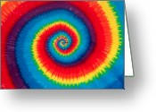 1970s Photo Greeting Cards - Tie Dye Greeting Card by Anthony Sacco