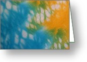 T-shirt Greeting Cards - Tie Dye in Yellow Aqua and Green Greeting Card by Anna Lisa Yoder