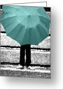 Umbrella Digital Art Greeting Cards - Tiffany Blue Umbrella Greeting Card by Lisa Knechtel