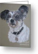 Dogs Pastels Greeting Cards - Tiffany Greeting Card by Sabine Lackner