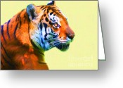 Siberian Tiger Greeting Cards - Tiger . 7D2058 . Painterly Greeting Card by Wingsdomain Art and Photography