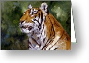 Fathers Greeting Cards - Tiger Alert Greeting Card by Silvia  Duran