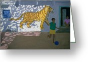 Football Painting Greeting Cards - Tiger Greeting Card by Andrew Macara