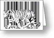Contemporary Digital Art Greeting Cards - Tiger Barcode Greeting Card by Michael Tompsett