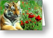 Tiger Cub Greeting Cards - Tiger Butterflies Greeting Card by Julie L Hoddinott