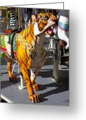 Amusement Park Greeting Cards - Tiger carousel ride Greeting Card by Garry Gay