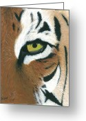 Tiger Tapestries Textiles Greeting Cards - Tiger Greeting Card by Dani Moore