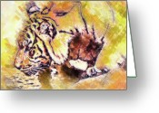 Killer Cats Greeting Cards - Tiger Drinking Greeting Card by Clarence Alford