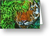 Hungle Animal Tapestries - Textiles Greeting Cards - Tiger in Bamboo Greeting Card by Kay Shaffer